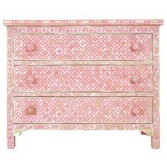 Pink Bone Geometric Chest of Drawers