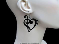 Treble & Bass Clef Heart Earrings  Laser Cut Acrylic  by CABfayre, $12.00