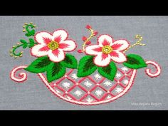 Hand Embroidery Videos, Cross Stitch Embroidery, Origami, Diy Crafts, Hands, Couples, Bucket, Flowers, Pattern