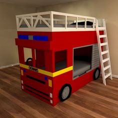 Our fun fire engine bunk bed is great bed for fire fighter fans. Drive your fire engine bed before falling asleep and dreaming of rescuing cats and fighting fires. Made to order luxury children's fire engine bed