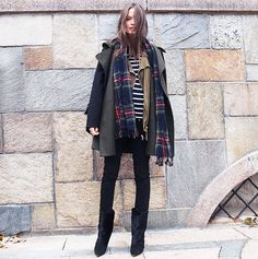 Coat, field vest, and striped tee trio accessorized with a plaid scarf. // #Shopping