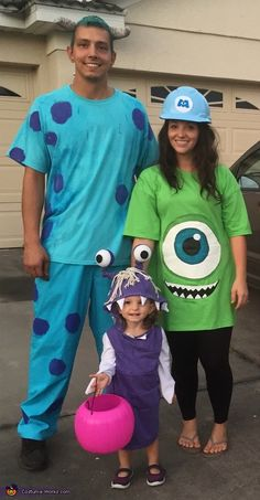 Nicole: Our almost 2 year old is Boo, dad is Sulley (kitty) and 6 month pregnant mom is Mike Wazowski.