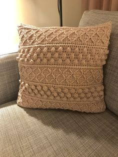 I have worked this pillow with cotton yarn and crochet hook The size is about and just right for a pillow. I have used about 5 pieces 100 grams yarn. You can use any yarn, keep in mind that the number of stitches varies for the size you want on your… Crochet Cushion Cover, Crochet Pillow Pattern, Granny Square Crochet Pattern, Crochet Stitches, Crochet Patterns, Boho Cushions, Crochet Cushions, Pillows, Crochet Home Decor