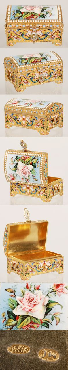 A Russian silver gilt, cloisonne and en plein enamel casket, Maria Semenova, Moscow, circa 1896-1908. Of rectangular form on raised bracket feet,  the box decorated with shaded multi-color scrolling floral motifs, the hinged domed lid finely painted with a spray of pink roses against a pale blue enamel ground