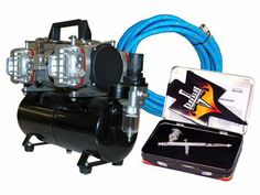 DeVILBISS DAGR Airbrush with AirBrush-Depot Model TC-848 High Performance Four-Cylinder Piston Air Compressor with Air Storage Tank