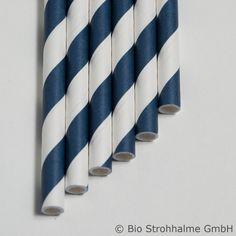 Papiertrinkhalm Streifen preußisch-blau