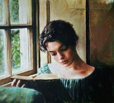 Jacquelyn Bischak (American, b. 1961) - Woman reading by the window