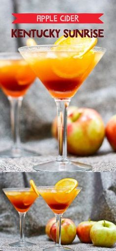 This Apple Cider Kentucky Sunrise is made with bourbon, apple cider, and pomegranate simple syrup. This southern twist on the classic Tequila Sunrise is the perfect fall cocktail. Fall Cocktails, Fall Drinks, Party Drinks, Summer Drinks, Cocktail Drinks, Mixed Drinks, Alcoholic Drinks, Tequila Drinks, Refreshing Cocktails
