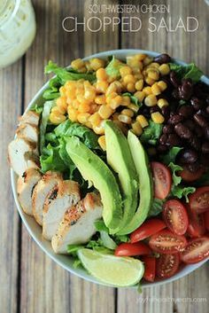 Southwestern Chicken Chopped Salad with grilled Chicken, tons of vegetables, and topped off with a Creamy Poblano Lime Ranch Dressing
