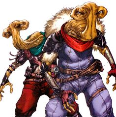The Moomo Brothers (Dob and Del) were a pair of Ithorians who worked as bounty hunters during the Mandalorian Wars. Found on Wookieepedia