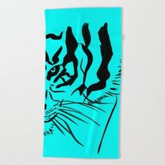 Eye Of The Tiger - Black & Turquoise Beach Towel