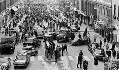 Primera mañana tras el cambio de conducir por la izquierda a hacerlo por la derecha, Suecia, 1967
