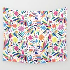 Creatures Otomi Print Wall Tapestry