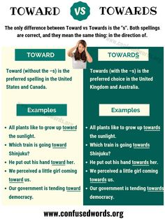 "TOWARD vs TOWARDS! The only difference between Toward vs Towards is the ""s"". English Vocabulary Words, Learn English Words, Grammar And Vocabulary, English Idioms, Grammar Lessons, English Grammar, English Tips, English Study, English Lessons"