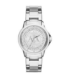 12a7eba237c7 AX Armani Exchange Silver Glitz 3Hand Watch  Dillards Ax Watches