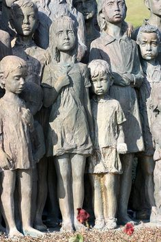 "The Children Victims of the War Statue.. by Simple Shot, via Flickr   A sculpture from the 1990s by academic sculptor Marie Uchytilová stands today overlooking the site of the old village of Lidice. Entitled ""The Memorial to the Children Victims of the War"" it comprises 82 bronze statues of children (42 girls and 40 boys) aged 1 to 16 to honour the children who were murdered at Chełmno in summer 1942."
