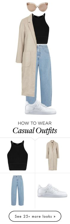 """""""Casual Saturday"""" by nblhhrs on Polyvore featuring Linda Farrow, MM6 Maison Margiela, Topshop, NIKE, women's clothing, women, female, woman, misses and juniors"""