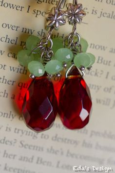 Gorgoeus rubi red crystal earrings with sterling silver ear wire. Free shipping at Bonanza.com