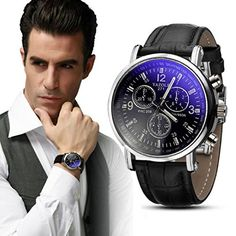 Ularma Herren Uhr Luxusmode Kunstleder Band Armbanduhr Blau Ray Glas Quartz Analog Uhr schwarz - http://uhr.haus/ularma/ularma-herren-uhr-luxusmode-kunstleder-band-blau-2