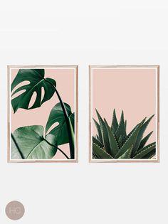 Set of 2 Prints,Tropical Prints,Palm Leaf Print,Succulent Print,Set of 2 Wall Art,Set of Prints,Pink and Green,Tropical Print,Large Wall Art