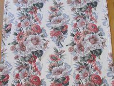 "VINTAGE BARKCLOTH Drapery Fabric Panel 84x42"" Romantic Cottage Home"