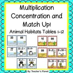 Multiplication Concentration and Match Up - Animal Habitats! This fun set of Animal Habitat multiplication cards includes the multiplication tables from 1 to 12. Students love playing Concentration and Match Up. These cards are great for independent work, partners, and math centers.