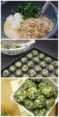 Spinach Balls....I make these during the holidays and they are a huge hit. You can freeze them and heat them up later.