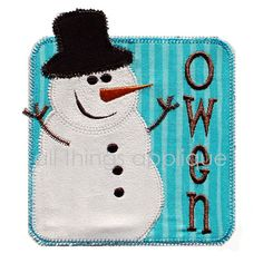 Snowman Patch Applique  Christmas Applique by allthingsapplique, $4.00
