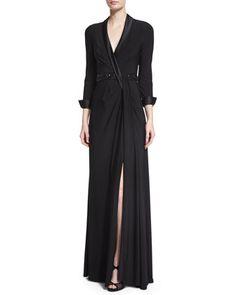 Beaded Waist Jersey Gown  by Aidan Mattox at Neiman Marcus.