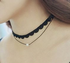 One Direction Exo Short Love Crystal Lace Necklace Collares Pendant For Women Wedding Jewelry Choker Double Layer Necklace, Layered Choker Necklace, Layered Chokers, Pearl Choker Necklace, Necklace Types, Collar Necklace, Pendant Necklace, Pearl Pendant, Short Necklace