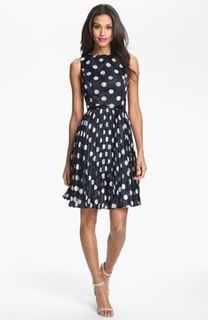 Adrianna Papell Burnout Polka Dot Fit & Flare Dress