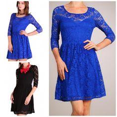 Floral Mesh Lace Dress New Romantic Party Dress Cobalt Blue Black Free SHIP only $29! | eBay