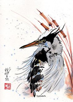 """""""Serious Business"""" Spontaneous (Xie Yi) style Chinese brush painting on rice paper by bgsearle"""