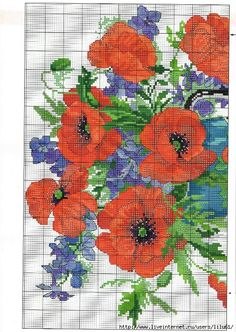 Cross-stitch Poppies in a Vase, part color chart on part 2 . Cross Stitch Books, Cross Stitch Rose, Cross Stitch Flowers, Counted Cross Stitch Patterns, Cross Stitch Embroidery, Embroidery Patterns, Flower Chart, Flower Patterns, Flowers In Jars