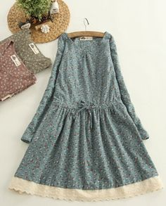 Mori Girl Floral Patchwork Lace Drawstring O-neck Long Sleeve Dress