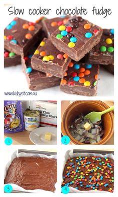 Slow cooker fudge. http://m.kidspot.com.au/best-recipes/slow-cooker+32/slow-cooker-chocolate-fudge-recipe+5460.htm