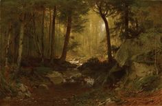 Alexander Helwig Wyant, American (1830-92), A Midsummer Retreat, 1874-75, Oil on canvas, 26 x 40in.  Anonymous loan in honor of the Museum of Art's 75th Anniversary