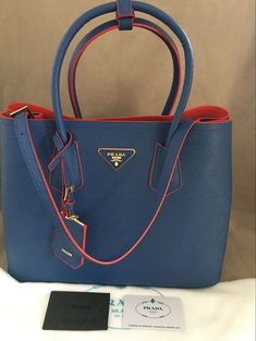 New Prada Saffiano Double Medium Tote Bag Leather Handbag Blue  shoulder   carrying  prada fc9edef255edb