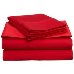 Super Brights Collection Microfiber Sheet Set ($18) ❤ liked on Polyvore featuring home, bed & bath, bedding, bed sheets, red, red bedding, microfiber sheet set, queen bed sheet set, red sheet set and red queen bedding
