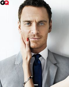 Michael Fassbender: Suit, shirt and tie by Calvin Klein Collection. Tie bar by The Tie Bar.