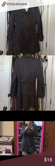 Charcoal/smokey gray/pewter PEACOAT. With ruffle. Beautiful, fun and lots of looks! Has belt. Ruffle on the bottom for a chic look. Pockets in front. Belt loop on cuffs. Like new!! sandro studio Jackets & Coats Pea Coats