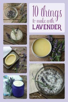 10 Things to Make With Lavender Have a bountiful crop of lavender from your garden, local farmer's market or a trip to a lavender farm, but not sure what to do with it? Here are 10 useful and pretty things that you can make with that beautiful lavender so Lavender Uses, Lavender Crafts, Lavender Recipes, Drying Lavender, Lavender Garden, Lavender Leaves, Lavender Fields, Lavendar Oil, Roses Garden