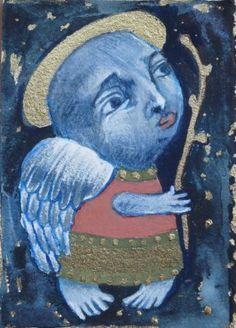 folk art angel, Angel Folk art painting, folk angel painting, naive art, primitive painting,  by Mariya Chimeva,  #FolkArt #Angelpainting