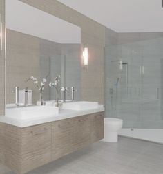 Contemporary Master Bathroom with Corian counters, Wall Hanging Vanities sconce, Ege Seramik Palais Grey Porcelain Tile, Double sink Grey Bathroom Tiles, Grey Tiles, Grey Bathrooms, Modern Bathroom, Master Bathroom, Bathroom Ideas, Blue Bathrooms Designs, Corian, Rain Shower