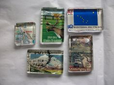 5 Alaska Upcycled Postage Stamp Glass Magnets by BadCatCraft