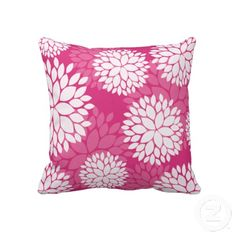 Elegant pink and white floral throw pillow or cushion.  #pink #floral #throw #pillow #cushion http://www.zazzle.com/pink_white_floral_pattern_pillow-189974227102876097?rf=238213022379565456