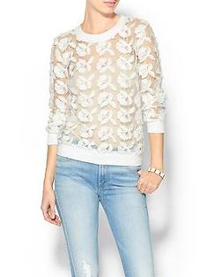JOA Floral Mesh Sweater | Piperlime