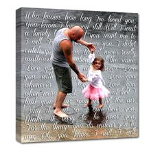 daddy daughter canvas art - favorite pic and favorite word - perfect HOLIDAY gift!