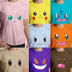 03bf591c2 Cute Pokemon Face Head Starters Nintendo Fun Unisex Mens Tee Crew Neck T- Shirt #