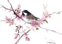 Peinture de mésange, art de l'oiseau, aquarelle originale, peinture, 15 x 11 pouces, les oiseaux d'Amérique, art de la Mésange à tête olive brun gris rose art de mur